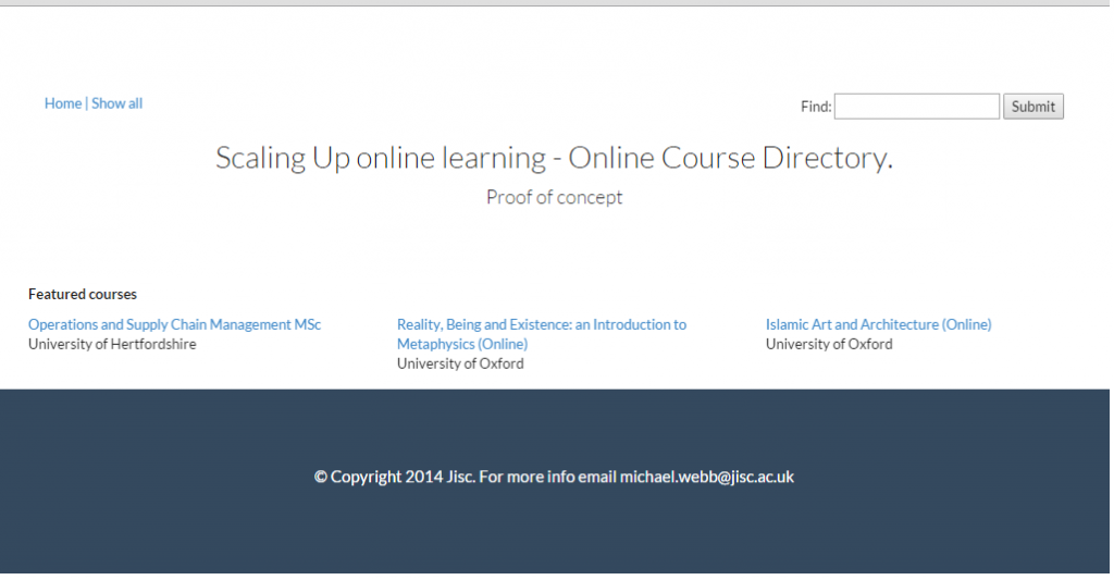 Screenshot of the prototype online course directory